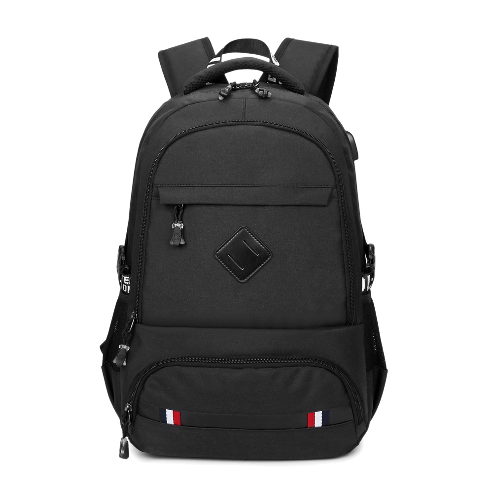 2019 New Travel Business Backpack Nylon Double Shoulder School Bag with USB Charging Port Fits 15.6 Inch Laptop Notebook