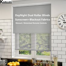 Australia High Quality Window Waterproof Blackout Sunscreen Dual Roller Blinds No.836-653 Customize Size or Motorize(China)