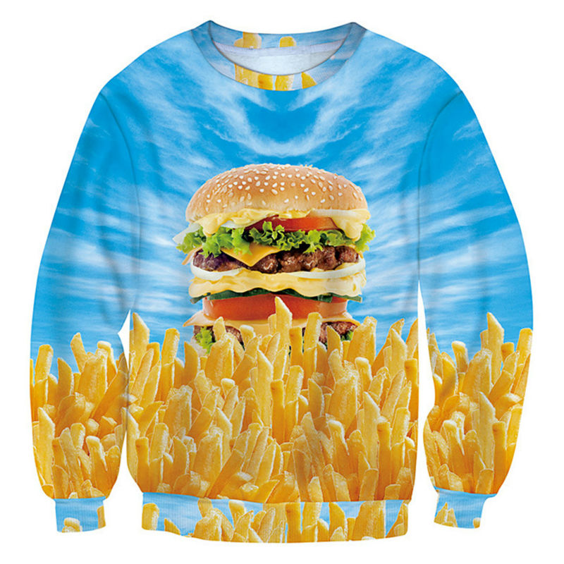 Men's Clothing Hd Hamburger And French Fries 3d Print Mens Crew Neck Outwear For Unisex Funny Hoodies Casual Streetwear Sweatshirts 5xl Long Performance Life