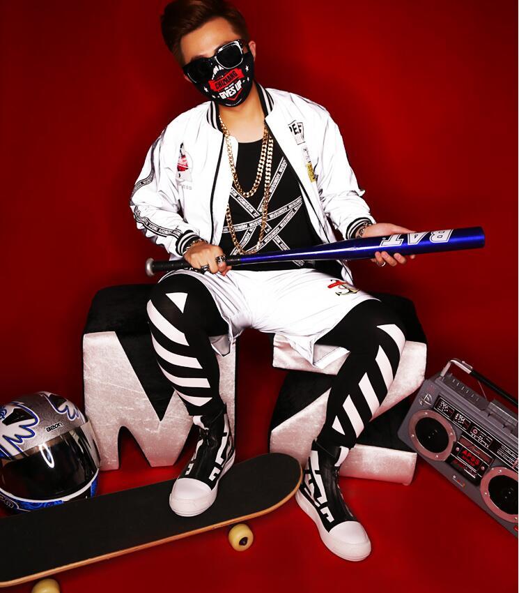 2018 nuevo estilo club nocturno DJ singer reflector láser chaqueta vestido hip hop dance fit para actuación jazz dance Cosplay disfraz - 3