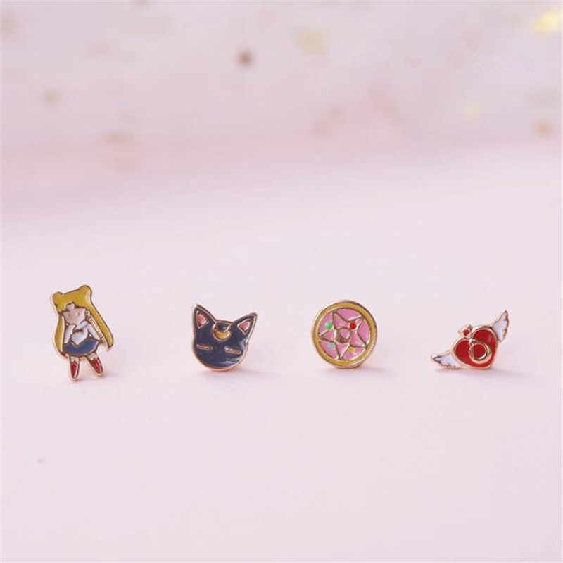 Cartoon Anime Sailor Moon Luna Cat Stud Earrings Periphery Prop Accessories Personalized Customization Alloy Stud Earring Set