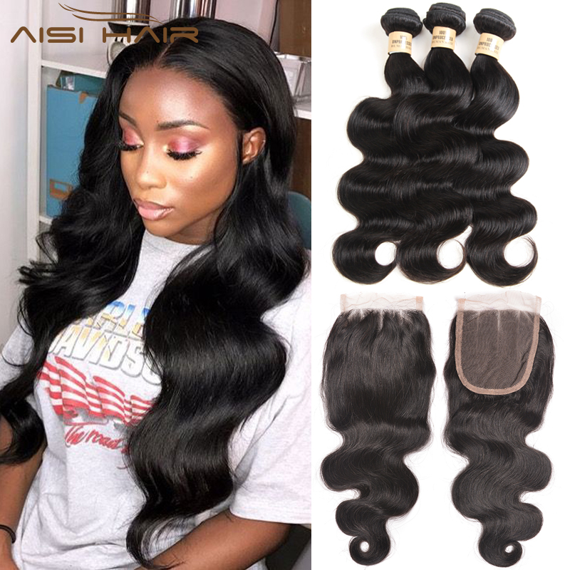 AISI HAIR Brazilian Body Wave 3 Bundles With Closure 100% Unprocessed Human Hair Bundles with Lace Frontal No-remy Hair