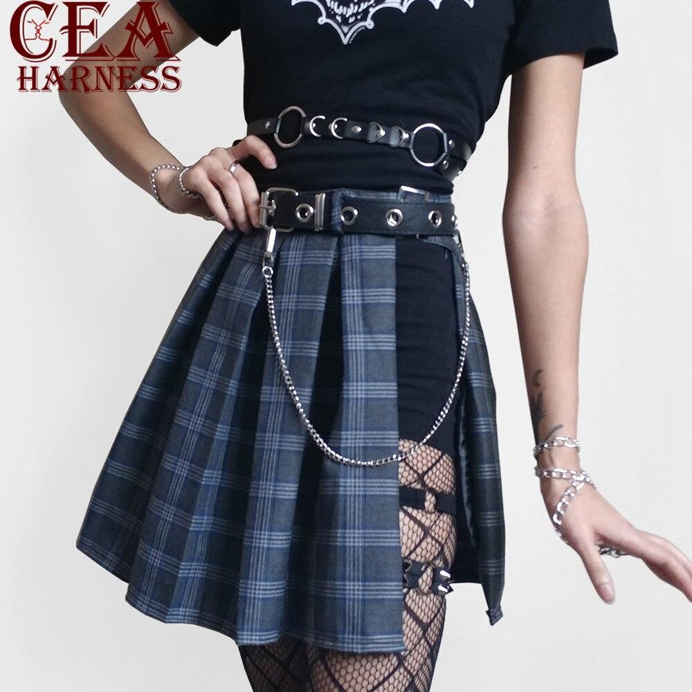 CEA.HARNESS Leather Harness Underwear 2 Piece Set Garter   Belts   Sexy Women Waist To Leg Bondage Cage Straps With Chain Body   Belts