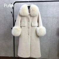 PUDI F18002 women's winter warm real wool jacket vest genuine leisure girl coat lady jacket overcoat