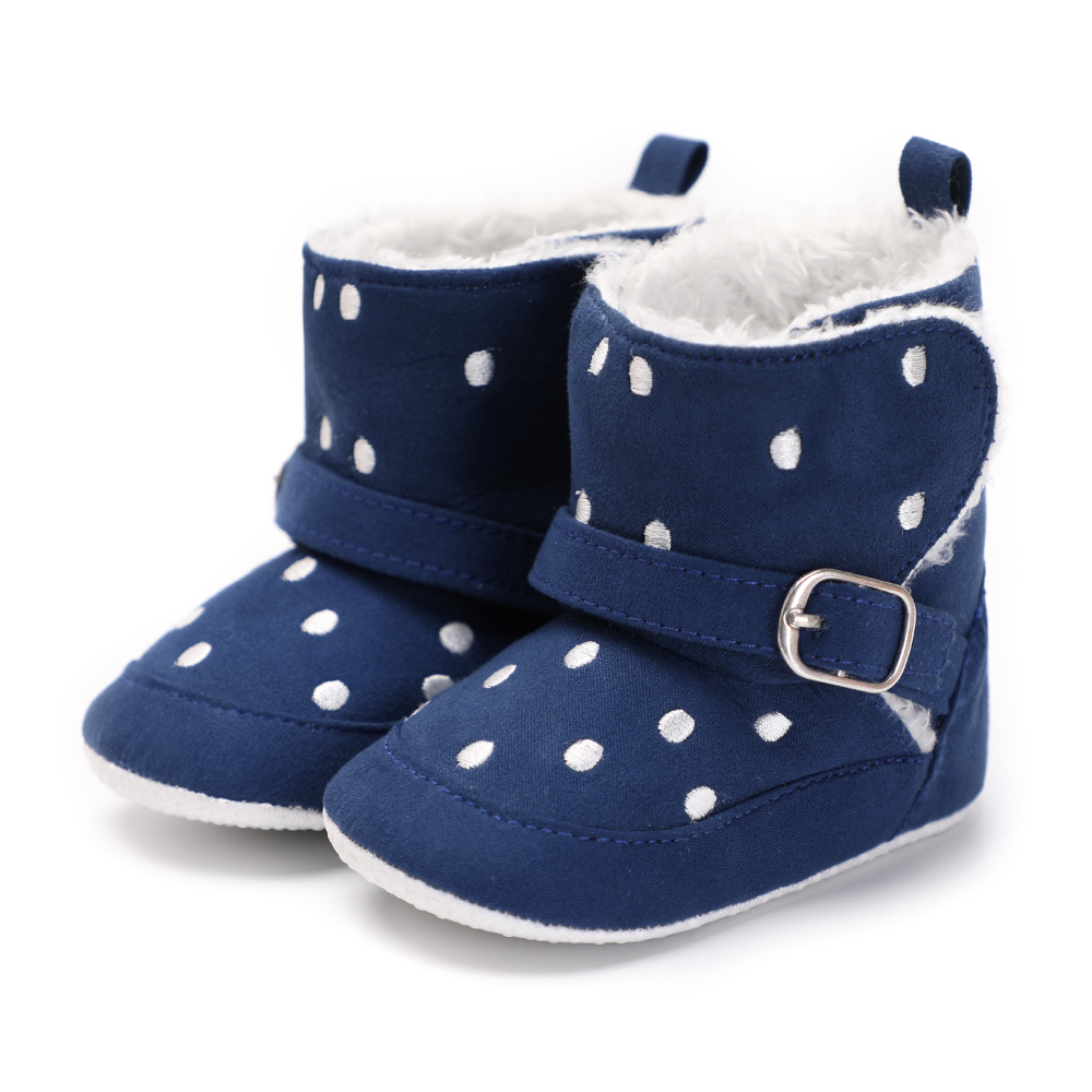 Fleece Leather Baby Shoes Infant Moccasins Baby Winter Warm Booties Anti-Slip Kids Girls Boys Snow Boots 0-18 Months