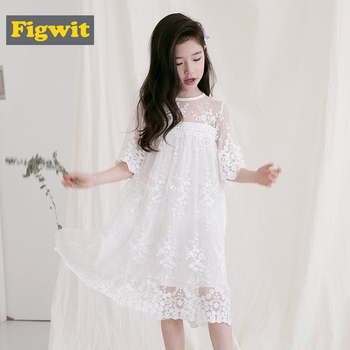 Figwit Teen Girls Lace Dress White Mesh Spring Autumn Flower Dress Summer Kids Teenage Children Clothing for Age 4 6 10 13 Years