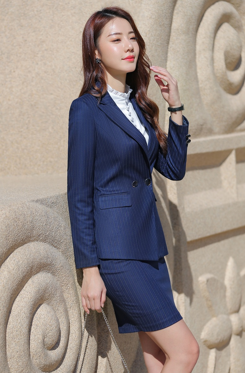 HTB1yw EabY1gK0jSZTEq6xDQVXae - Women Two Piece Outfits Elegant Stripe Full Sleeve Blazer+Skirt 2 Pieces Business Career Skirt Suits Office Clothes KY80869