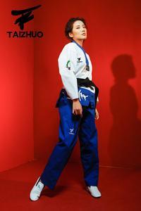 Image 4 - Nova flor fogo taekwondo uniforme adulto tae kwon do estrada homem e mulher de mangas compridas taekwondo costura doboks