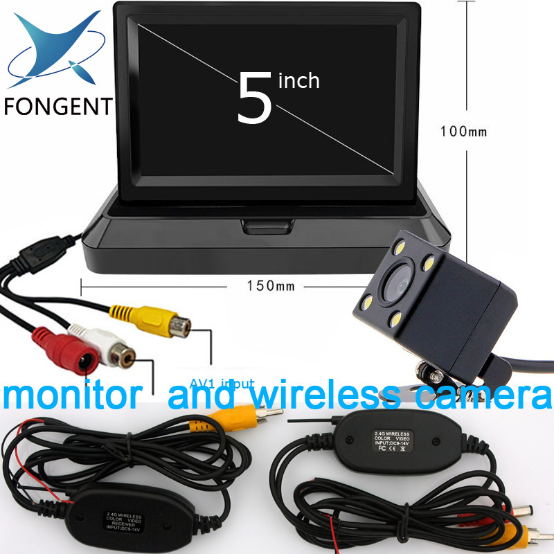 Fongent 5 Foldable TFT LCD Car Monitor 5 inch Car Reverse Rearview Parking Monitors For Rear View Camera DVD Video Player