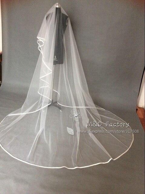 Vraie Photo blanc/ivoire deux couches mariage voile 3 m ruban bord mantille mariée voile De mariée accessoires De mariage Veu De Noiva 45
