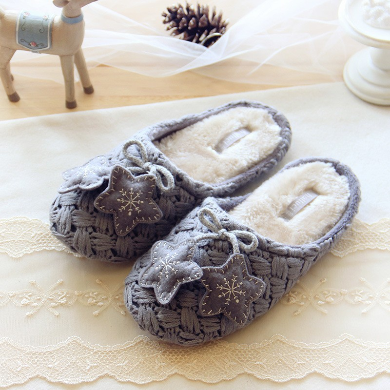50pcs/lot Winter Warm Cotton padded Women Slippers Soft Bottom Indoor Snowflake Deer Slippers Home Shoes Plush Slippers Women novelty cotton winter bow tie men slippers soft keep warm solid plush home grey brown indoor shoes with fur cotton padded shoes