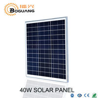 Boguang 1pcs 18v 40w Polycrystalline Silicon Glass Solar Panel Module Kit Cell For 12v Battery LED