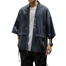 Cotton Shirts Men Kimono Traditional Open Stitch Shirt Belt Pocket Male Three Quarter Sleeve Harajuku 2019 Summer