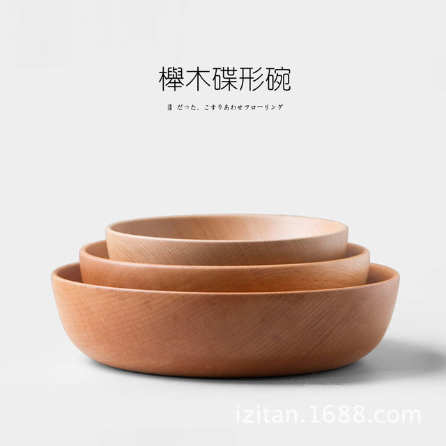 Us 108 40 Offnatural Handmade Wooden Salad Bowl Large Round Wood Salad Soup Dining Bowl Plates Premium Wood Kitchen Utensils Set In Bowls From