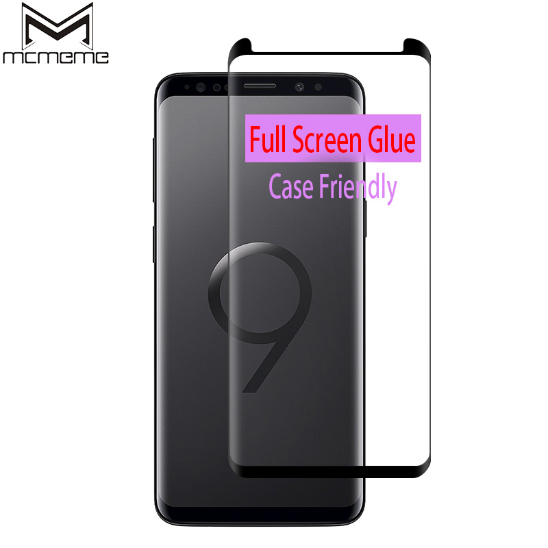 Full Glue Screen Protector For Samsung Galaxy S9 Plus Full Adhesive Tempered Glass For Samsung S8 S9 Plus Note 8 Case Friendly