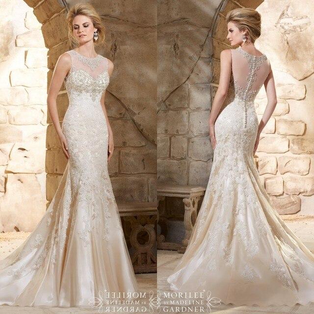 Heavy Beaded Custom Made Elegant Lace Wedding Dress See Through Mermaid  Bride Dresses Robe De Marriage Gown 2015 a544308f9371