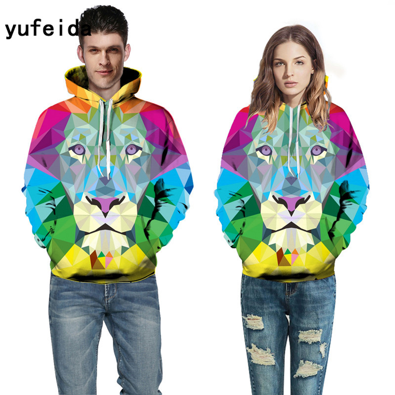 YUFEIDA Pocket Hooded Sweatshirts Lion 3D Hoodies Pullovers Men Women Long Sleeves Outerwear Hoody New Hoodies