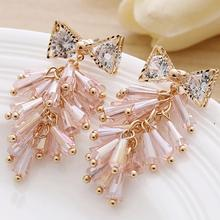 Charmcci Romantic Crystal Tassel Earrings For Women Zircon Bow Jewelry Pink White Black Blue Colors