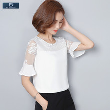 [EL BARCO] New Summer Lace Women Chiffon Blouse Shirt Short Butterfly Sleeve Floral Mesh White Female Fashion Top Clothes Blusas