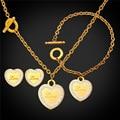 Любовь Сердца Ювелирных Изделий Браслета Ожерелья И Серьги Для Женщин позолоченные Нержавеющей Стали Израиля Ожерелье GNEH2242