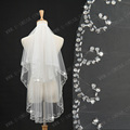 TS3125bead edge two-layer beaded short wedding 2015 simple elegant two-layer tulle bridal veils voile mariage wedding veil ivory