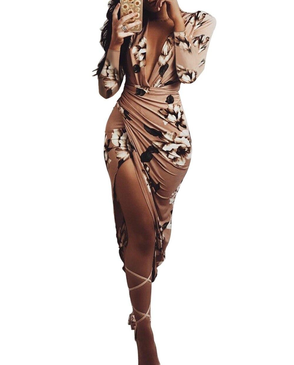 Automne Sexy Col En V Profond Robes Imprimé floral Moulante de Split Dames Vintage Robe Femmes À Manches Longues Irrégulière Robe robe Y052