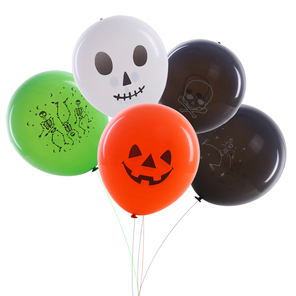 Outdoor inflatable halloween decorations - 5pcs 12inch Latex Led Ballloon For Christmas Halloween Decoration Party Festival Supplies Skull Classic Design