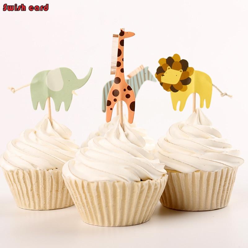 24pcs <font><b>Cup</b></font> Cake Topper cake toppers cartoon cute Giraffe <font><b>Zebra</b></font> Elephant lion souvenir Baby Shower birthday <font><b>party</b></font> Supplies decor