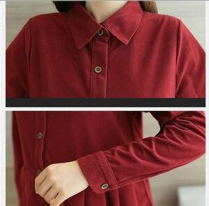 Image 4 - סתיו וחורף קורדרוי T חולצה סיעוד שמלת עבור אמא תלבושת ליולדות בהריון נשים הנקה T שמלה
