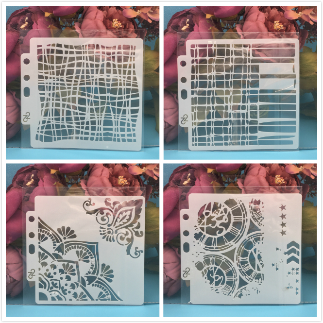 4Pcs/Set 14cm Line Flower Gear DIY Layering Stencils Painting Scrapbook Coloring Embossing Album Decorative Card Template