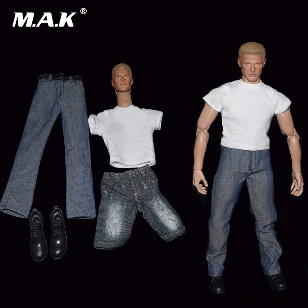 1/6 Scale Male Head Jean Denim Clothes Suit Model for 12 Action Figure Body Accessories in Stock dragon gauge car triple guage 52mm voltage water temp celsius or fahrenheit oil press black chrome bezel 3 in 1 kit meter