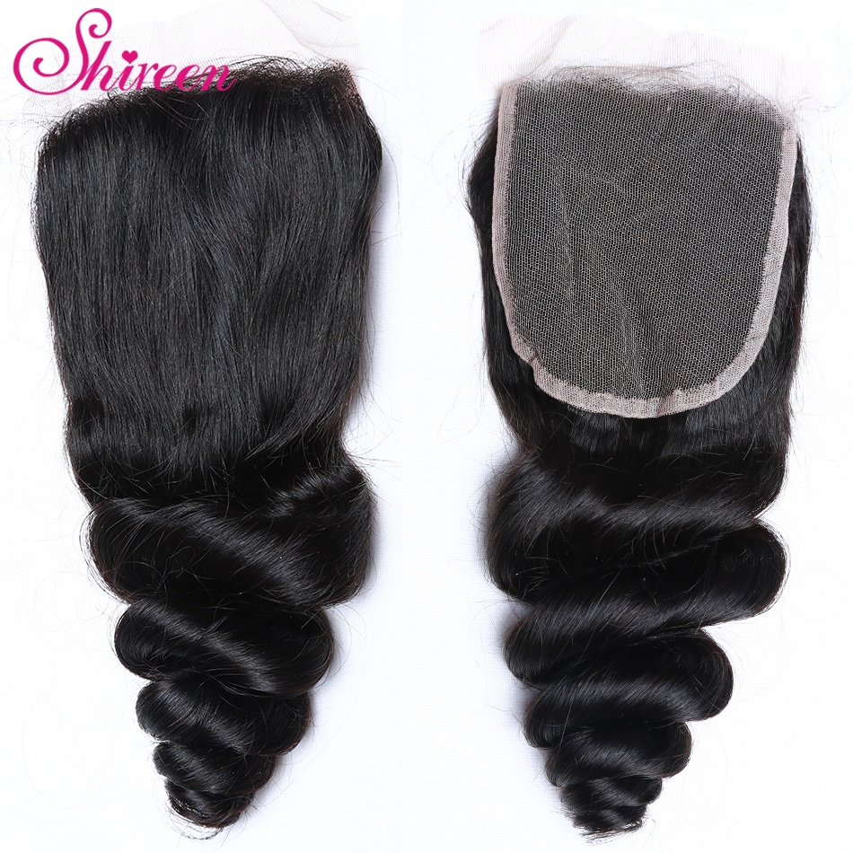 Shireen Hair Lace Closure 4*4 Malaysian Loose Wave Closure 10-20inches Remy Human Hair Closure One Piece