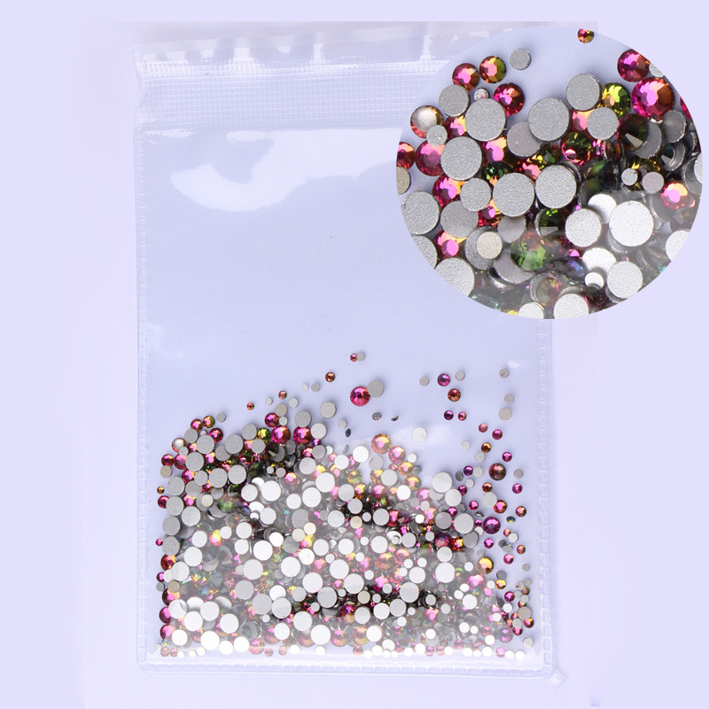 Купить с кэшбэком ss3-ss30 Mix Sizes 1000PCS/Pack Crystal Clear AB Non Hotfix Flatback Nail Art Rhinestones For Nails 3D Nail Art Decoration Gems