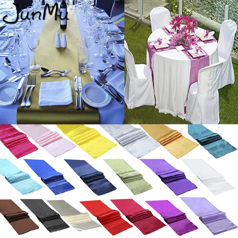 10PCS Satin Table Runners Wedding Party Event Decor Supply Satin Fabric Chair Sash Bow Table Cover Tablecloth 30cm*275cm