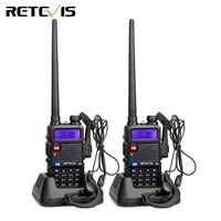 2pcs Walkie Talkie Retevis RT 5R RT5R 5W 128CH VOX Scan UHF VHF Dual Band Ham Radio Station Hf Transceiver