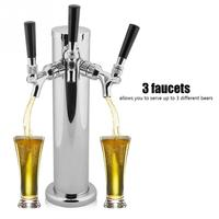 Stainless Steel Triple Tap 3 Faucets Draft Beer Dispenser for Bar Home Brew Kegerator