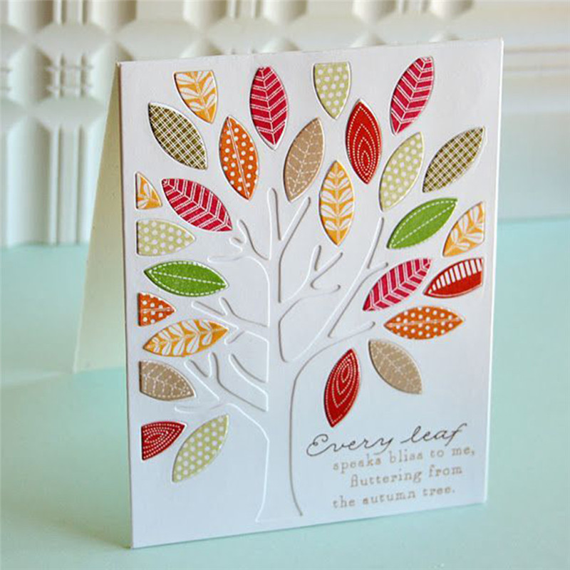 GJCrafts Tree Rectangle Dies Scrapbooking Leaves Background Dies Metal Cutting Dies New 2019 Metal Craft for Cards Making in Cutting Dies from Home Garden