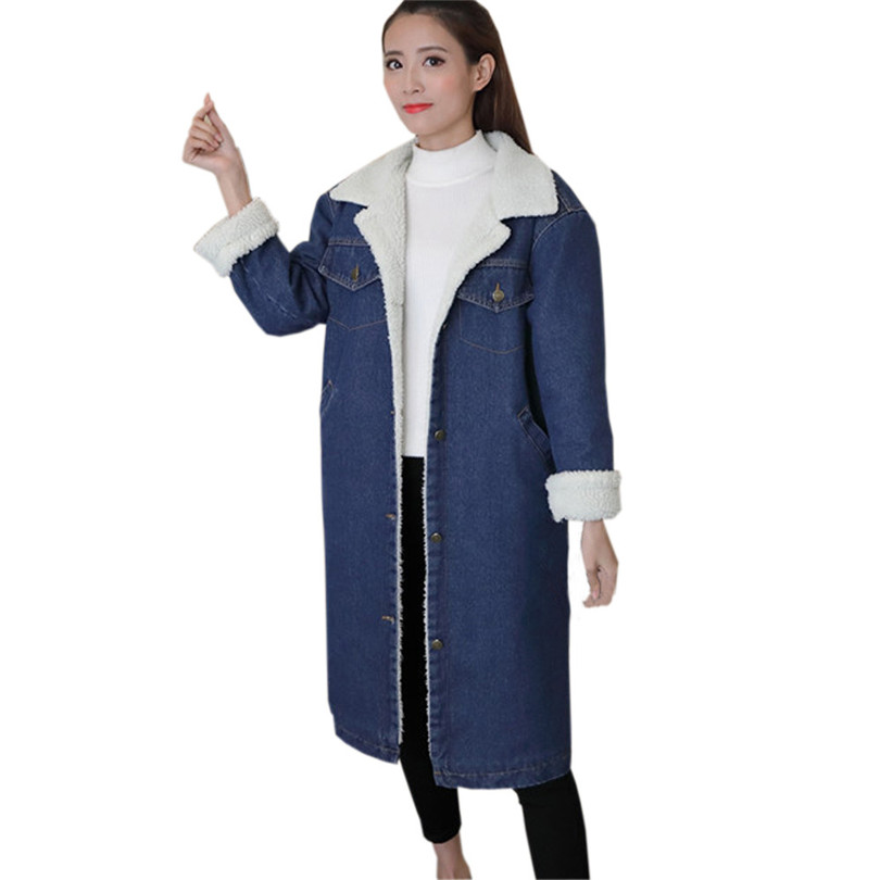 Long Sleeve   Trench   Coat Plus Size Thickening Winter Woman Coat Denim   Trench   Coat Long Outcoat Abrigo Mujer Wholesale 50OR18