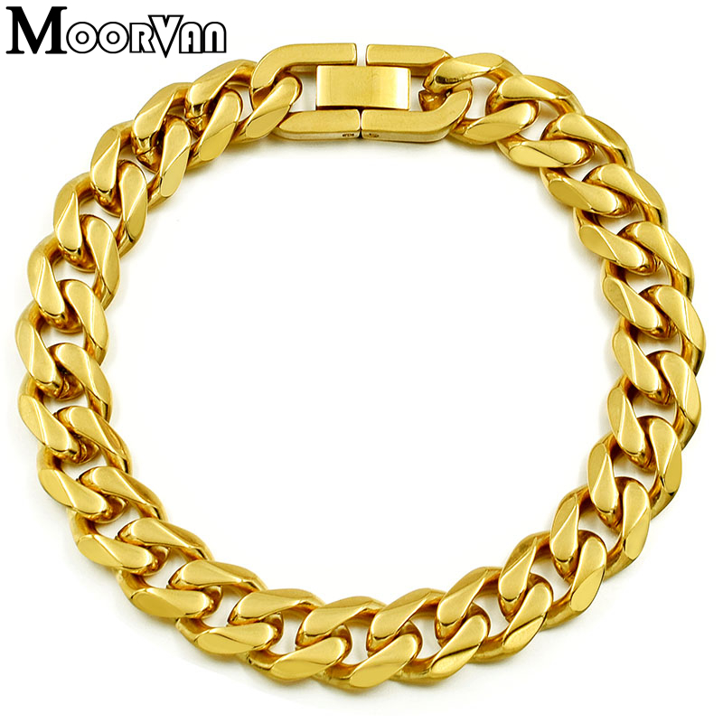 Moorvan Jewelry Men Bracelet Cuban links & chains Stainless Steel Bracelet for Bangle Male Accessory Wholesale B284 12