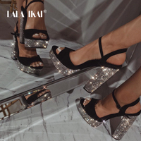 LALA IKAI Women High Heels Sandals Rhinestone Square Heels Pumps Shoes Sexy Wedges Party Platform Sandalia Feminina XWC3655 4
