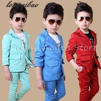 Free shipping High quatity classic formal dress kids jackets boys wedding suit children outerwear clothingRed Blue Optional