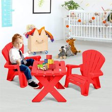3-Piece Plastic Children Play Table Chair Set Durable Construction PP Furniture Set Simple Assembly Required OP3232(China)