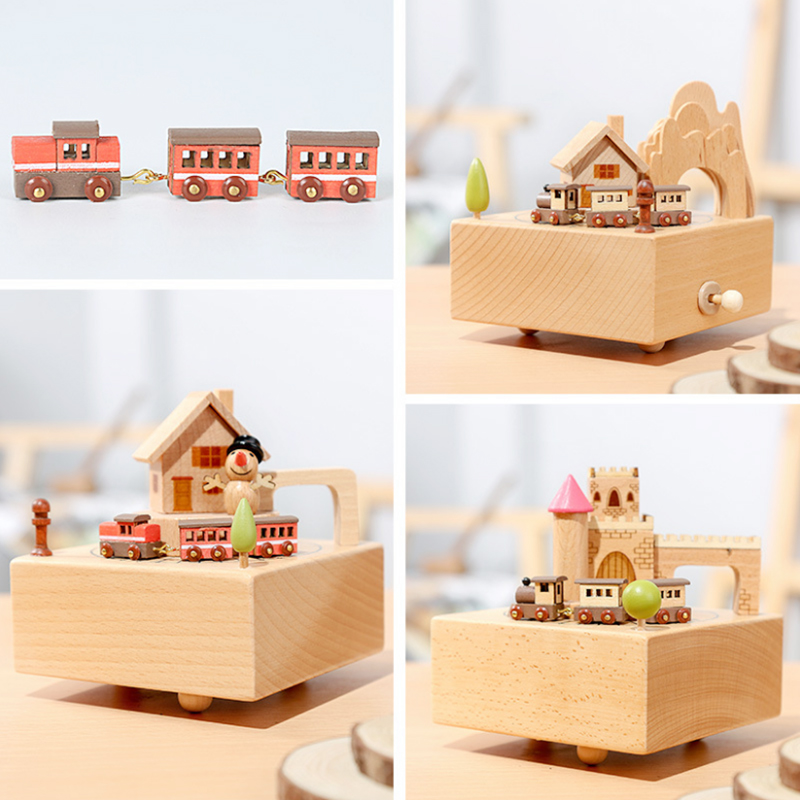 Us 2559 20 Offkids Merry Go Round Wooden Train Carousel Music Box Toy Creative Snowman Castle For Fun Music Educational Child Christmas Toys In