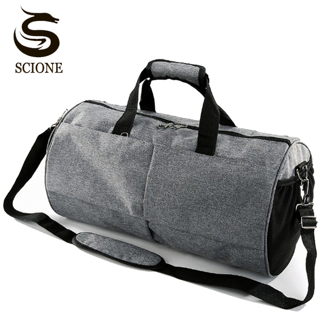 ebfc64ae2f Black Gray Shoulder Bag Cylinder Shaped Travel Bags for Men Women Handbag  Travel Duffel
