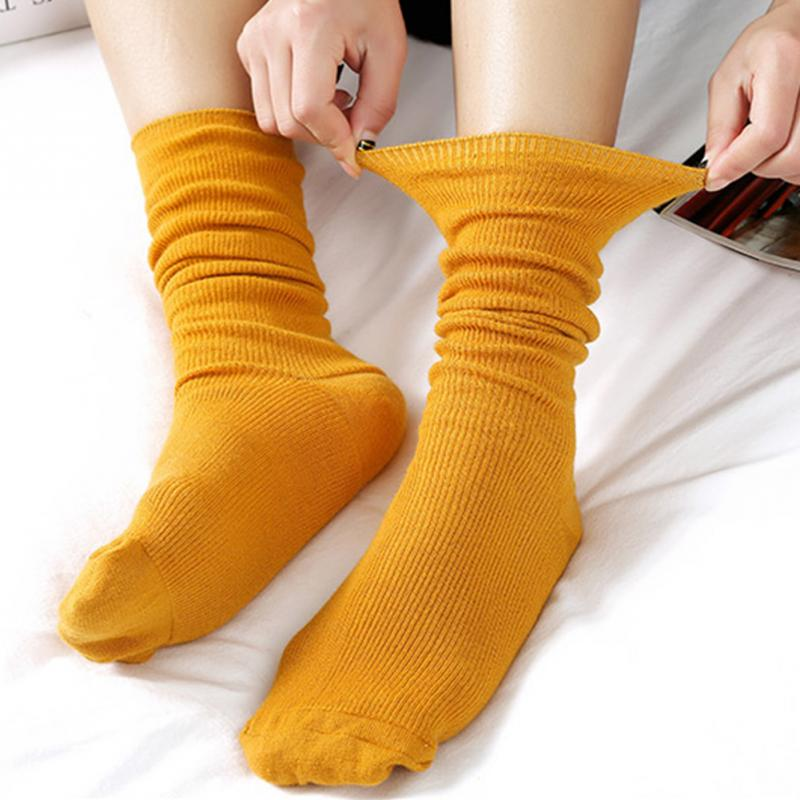2019 Japanese Korea Style High School Girls High Socks Loose Women Solid Colors Double Needles Knitting Cotton Long Socks