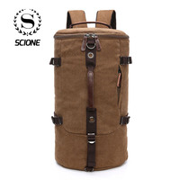 Scione Men Large Capacity Cylinder Travel Backpack A++ Solid Canvas Waterproof Duffel Shoulder Bags Simple Suitcase Luggage Pack