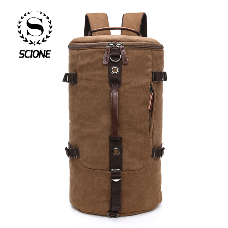 Scione Men Travel Backpack Bag Large Capacity Cylinder Bag Canvas Duffel Backpack Suitcase Roulette Travel Bag