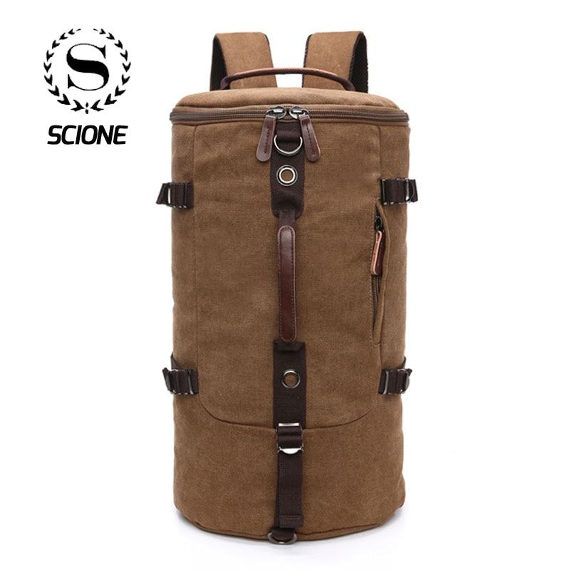 Scione Men Travel Backpack Bag Large Capacity Cylinder Bag Canvas Duffel Backpack Suitcase Roulette Travel Bag