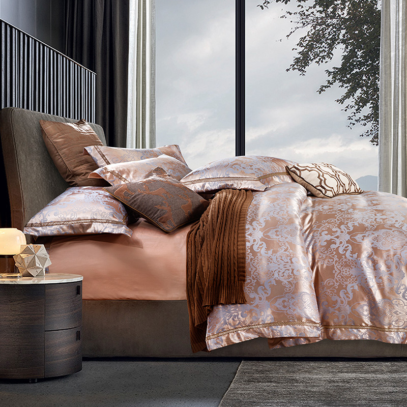 Luxury bedding set jacquard silk 4pcs bedclothes bed linen sets queen king size Quilt/duvet cover set bedsheets cotton bedcoverLuxury bedding set jacquard silk 4pcs bedclothes bed linen sets queen king size Quilt/duvet cover set bedsheets cotton bedcover