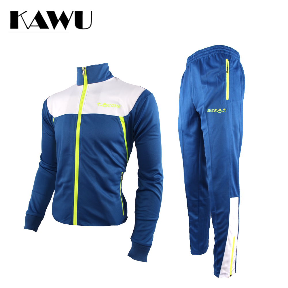KAWU Men Tracksuit Set Track Suit Stand Collar Sportswear Clothing Plus Size 5XL zipper long sleeve running set S17008